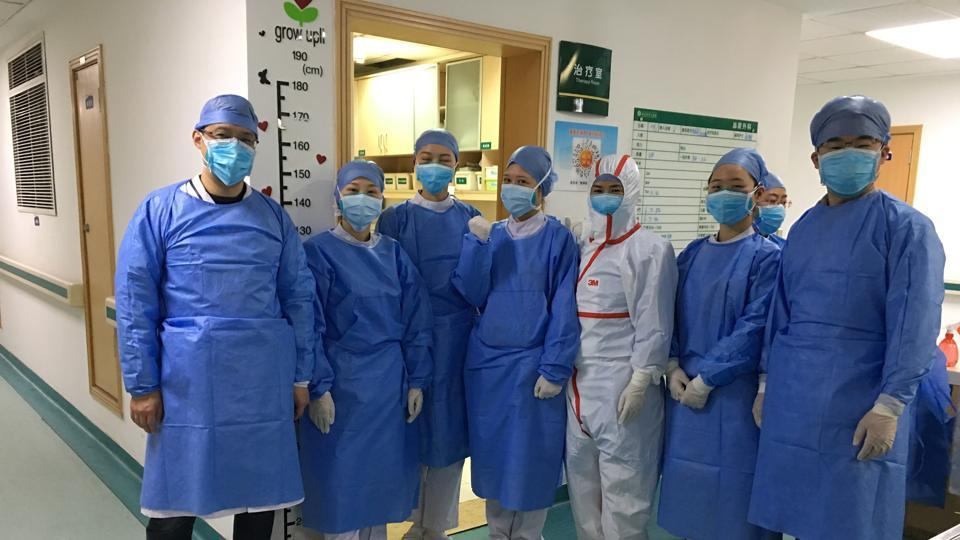 Picture uploaded to social media on January 25, 2020 by the Central Hospital of Wuhan show medical staff, in Wuhan, China.