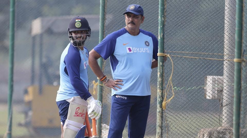 India's Rishabh Pant, left, stands with head coach Ravi Shastri