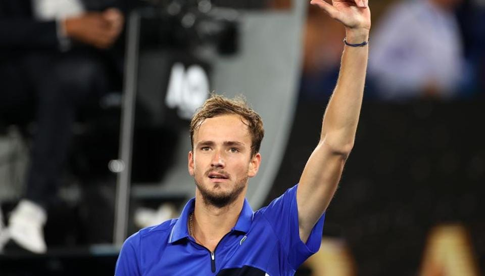 Russia's Daniil Medvedev celebrates after his match.