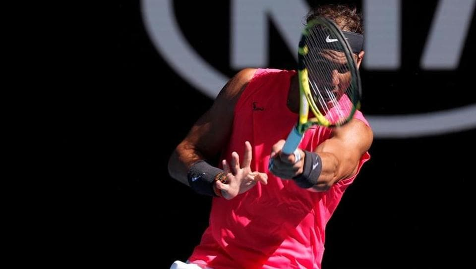 Spain's Rafael Nadal in action during his match against Spain's Pablo Carreno Busta.