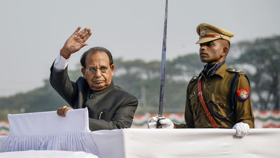 Assam Governor Jagdish Mukhi waves as he inspects a guard of honour during the 71st Republic Day parade, at Veterinary College Playground, Khanapara in Guwahati, Sunday