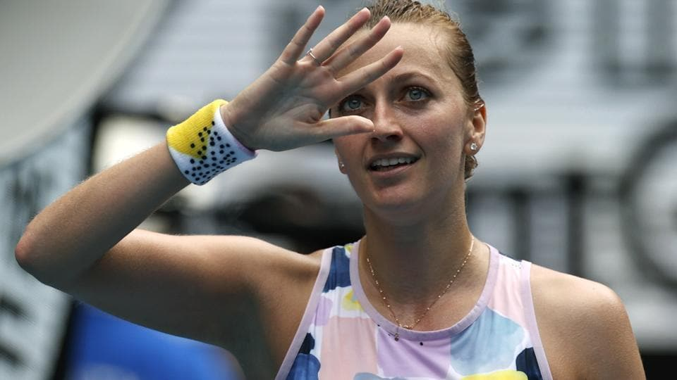 Petra Kvitova of the Czech Republic waves after defeating Greece's Maria Sakkari.