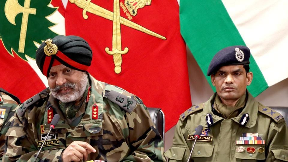 Chinar Corps Commander Lt General KJS Dhillon along with Inspector General of Police, Kashmir, Vijay Kumar addresses a joint press conference on Trial encounter in Srinagar on Saturday.
