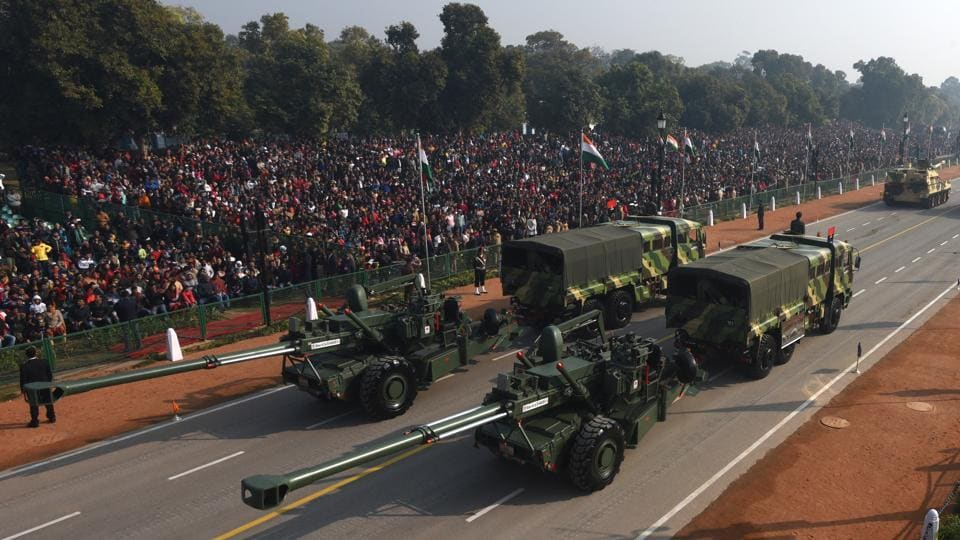 The long-range artillery gun Dhanush, commanded by Indian Army Captain Mrigank Bharadwaj, was a part of the Republic Day celebrations at Rajpath for the first time. The 155mm/45 Caliber Dhanush gun system is a towed Howitzer designed indigenously by the Ordnance Factory Board. (Sonu Mehta / HT Photo)