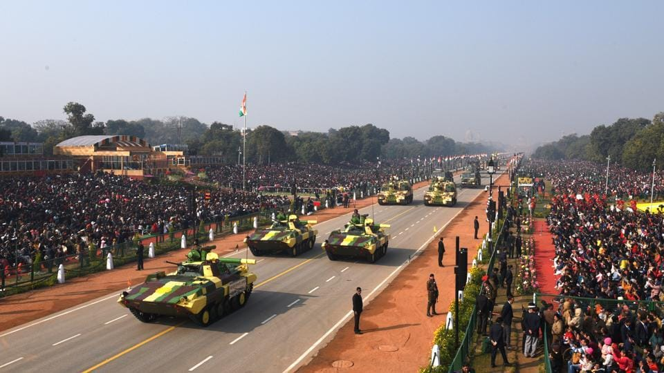 India's armed forces took centre stage at the grand parade as they displayed the army's battle tank Bhishma, Infantry Combat Vehicle Ballway Machine Pikate (pictured) and the air force's brand new Rafale fighter jet and the newly inducted Chinook and Apache helicopters. (Arvind Yadav/HT Photo)