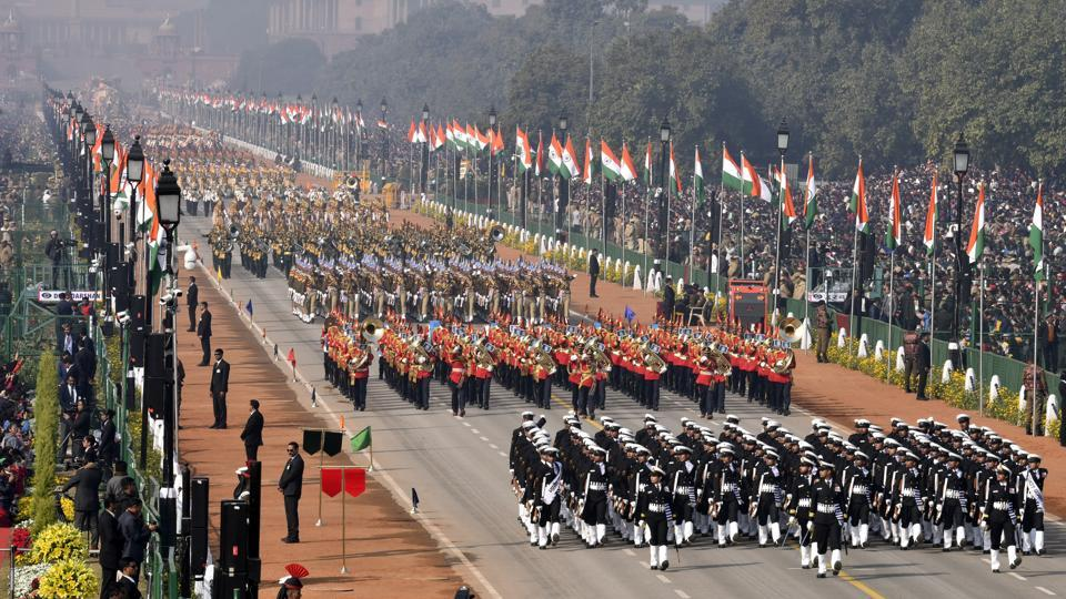Contingents during the Republic Day parade. The parade was commanded by Lt General Asit Mistry, General Officer Commanding, Delhi Area. The first contingent in the uniform of the erstwhile Gwalior Lancers was 61 Cavalry – the only active serving horse cavalry regiment in the world. (Sonu Mehta / HT Photo)