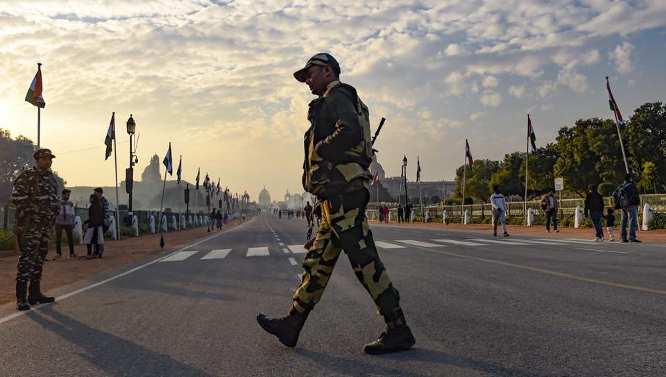New Delhi: Security forces personnel stand guard at the Rajpath. India is celebrating its 71st Republic Day this year, with sixteen states and Union Territories and six Central Ministries will be participating in the mega event at the Rajpath. The day is celebrated to honour the Constitution of India.(PTI Photo/Atul Yadav) (PTI1_25_2020_000164A) (PTI)