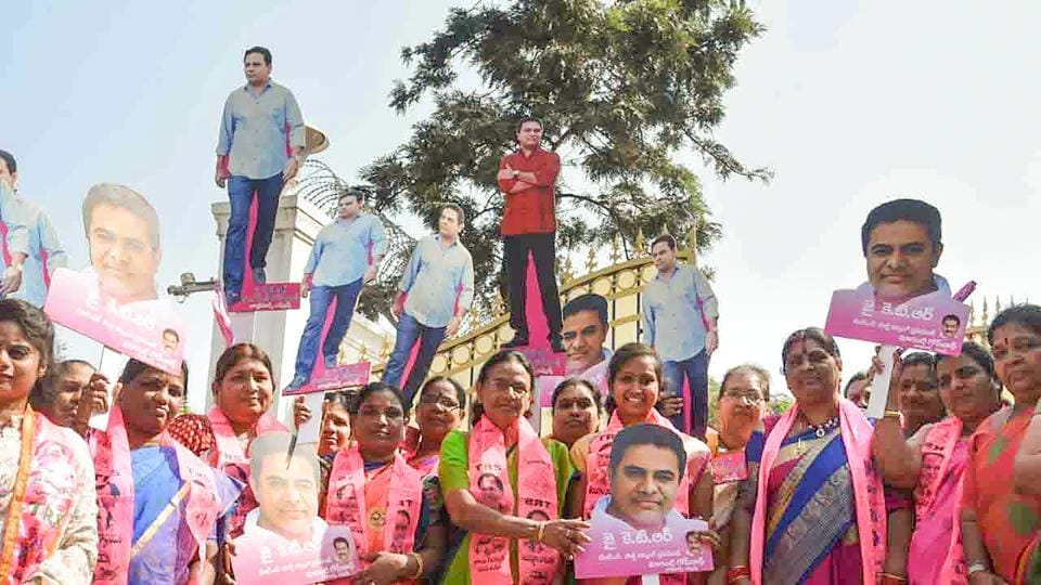 TRS workers celebrate their win in municipal elections in Hyderabad, Telangana.