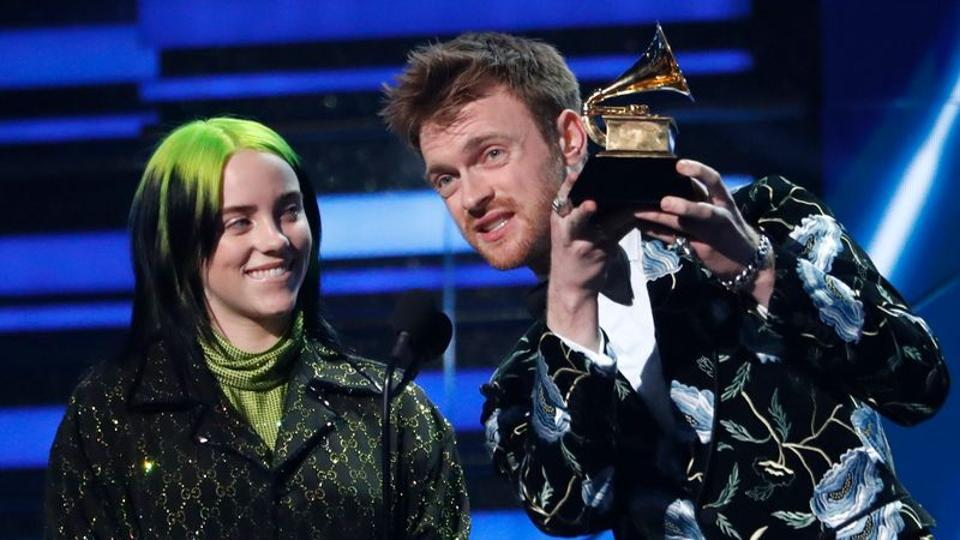 Billie Eilish and Finneas O'Connell accept the award for Song Of The Year for Bad Guy.