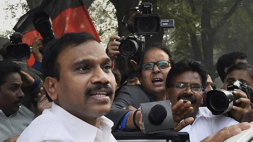 In this file picture from 2017, former telecom minister A Raja reacts after he was acquitted by a special court in the 2G scam case, in New Delhi.