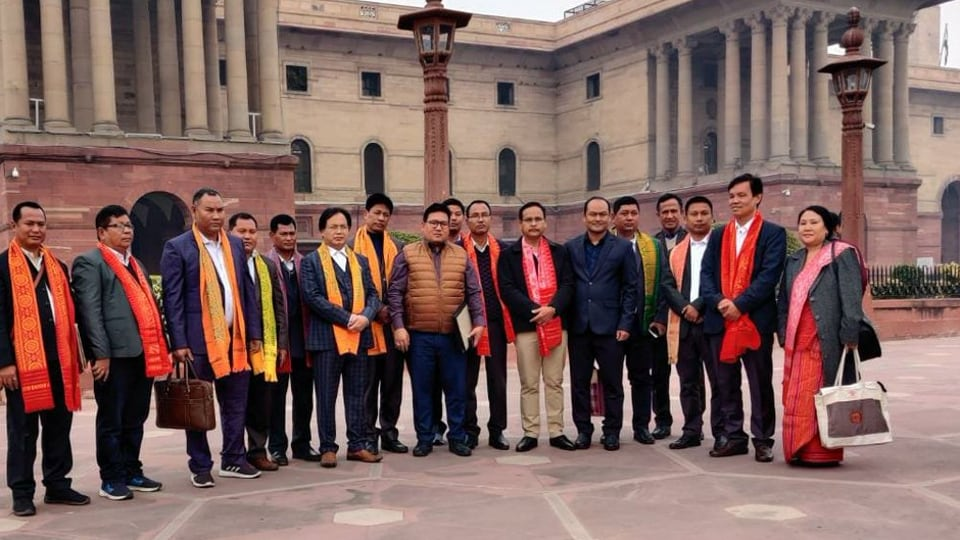 Representatives of all factions of  National Democratic Front of Bodoland (NDFB) outside the  Ministry of Home Affairs (MHA) to sign a tripartite agreement with the Centre, Jan 27, 2020.