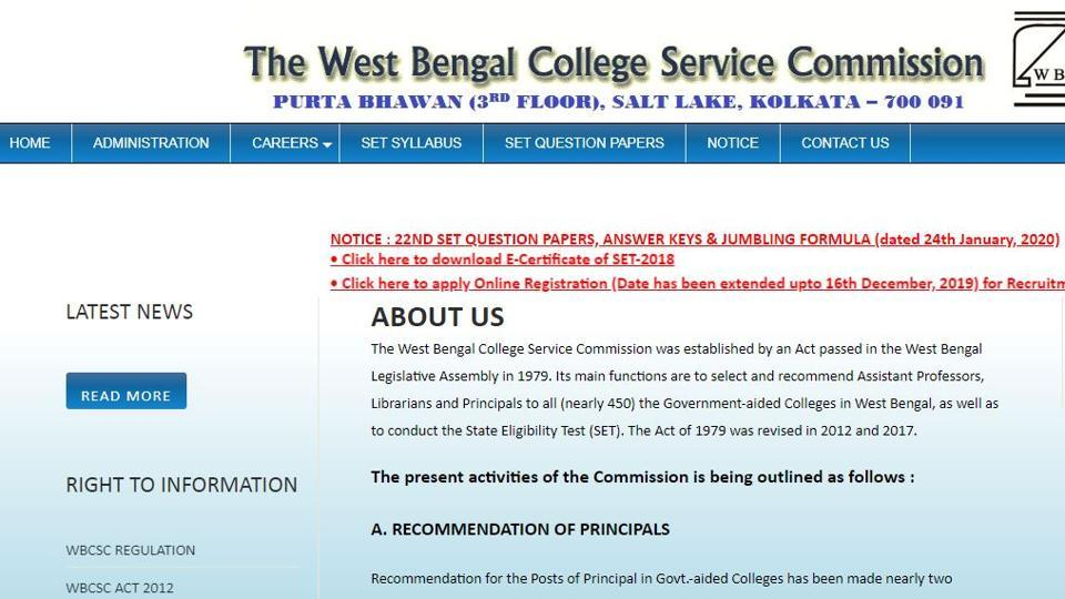 The West Bengal College Service Commission has released West Bengal State Eligibility Test 2020 Answer Key.