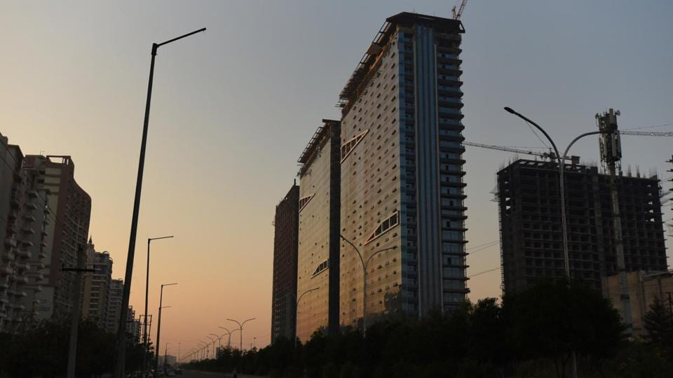 Under construction Bhutani Infra complex at sector 90, in Noida.
