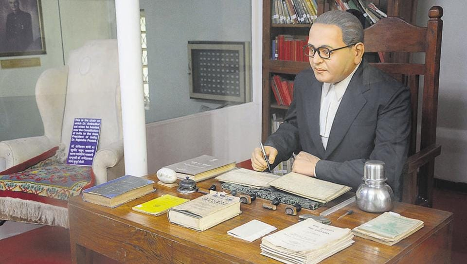 The statue of Dr Babasaheb Ambedkar, the chair and the table on which he used to sit while writing the Constitution of India.