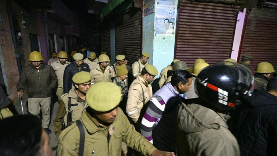 A police patrol in Uttar Pradesh's Bijnor which was rocked by violence in December during protests against the Citizenship Amendment Act.