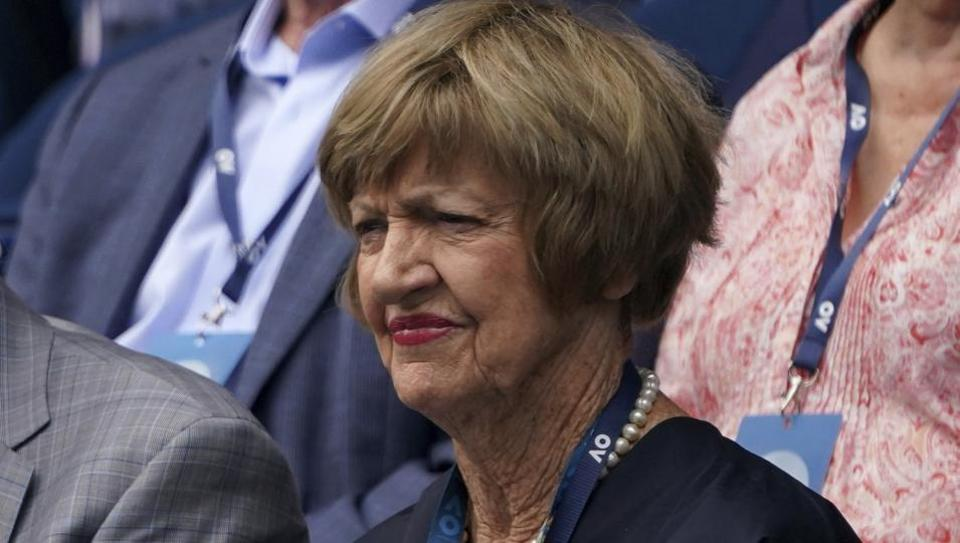 Former Australian Open champion Margaret Court watches the men's fourth round match.