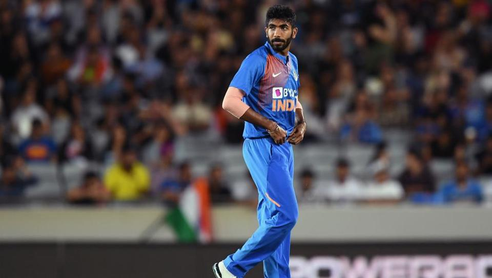Jasprit Bumrah of India looks on during the second T20I against New Zealand.