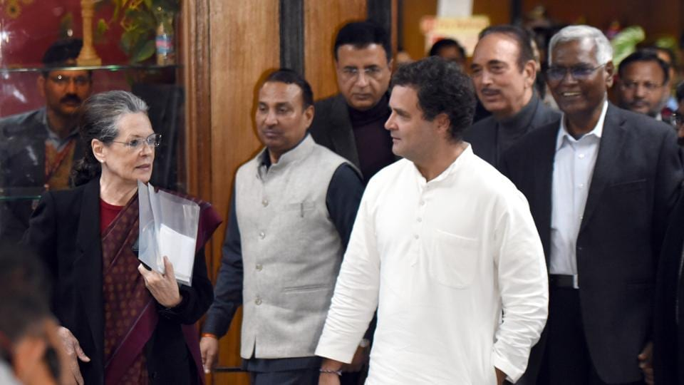 Indian National Congress president Sonia Gandhi, Congress Leader Rahul Gandhi, CPI Leader D. Raja, Ghulam N Azad, and other's leave after attending Leaders of Opposition Parties meeting in Parliament Annexe Building in New Delhi.