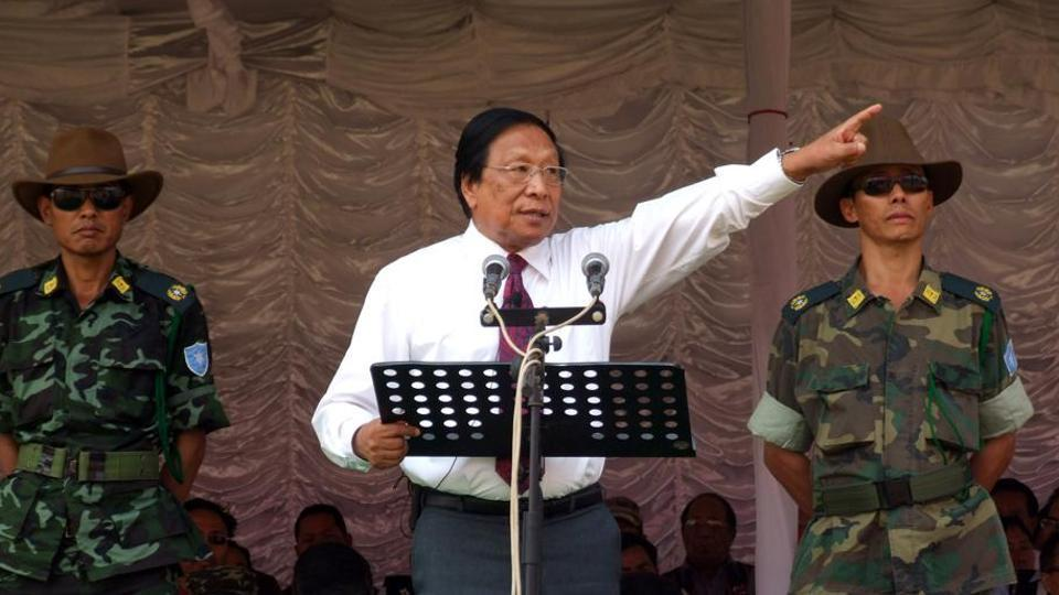 NSCN-IM rebels in and around their camp and the outfit's leader Thuingaleng Muivah.