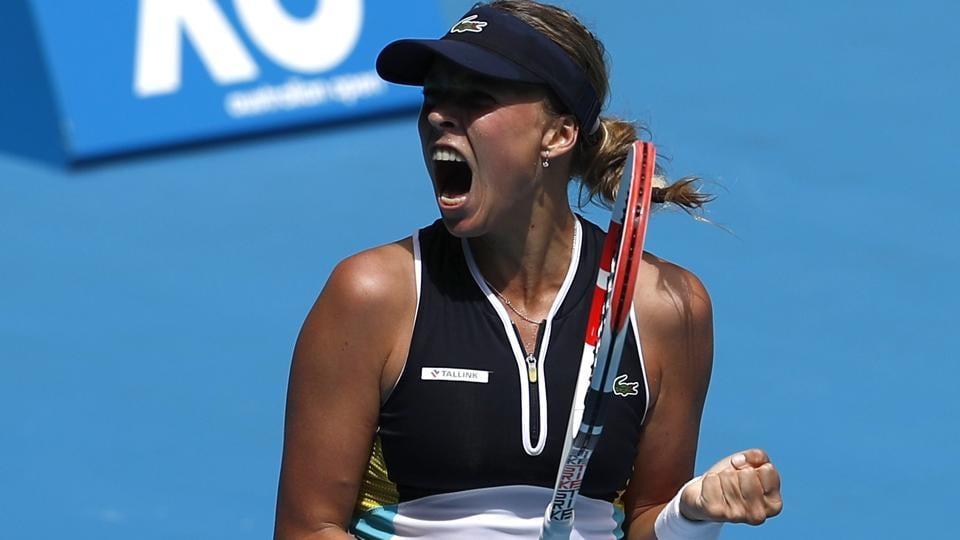 Estonia's Anett Kontaveit celebrates winning her match against Poland's Iga Swiatek.