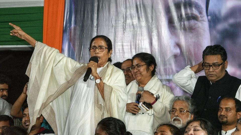 West Bengal, Jan 15 (ANI): West Bengal Chief Minister Mamata Banerjee addresses during a protest against the Citizenship Amendment Act 2019, in Kolkata on Wednesday. (ANI Photo)