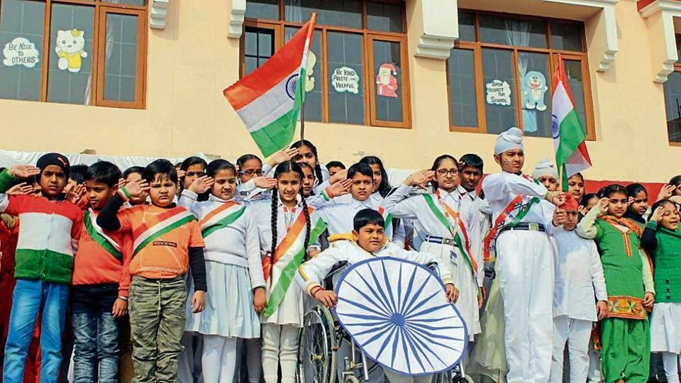 Students celebrating Republic Day at Ashmah International School in Mohali.