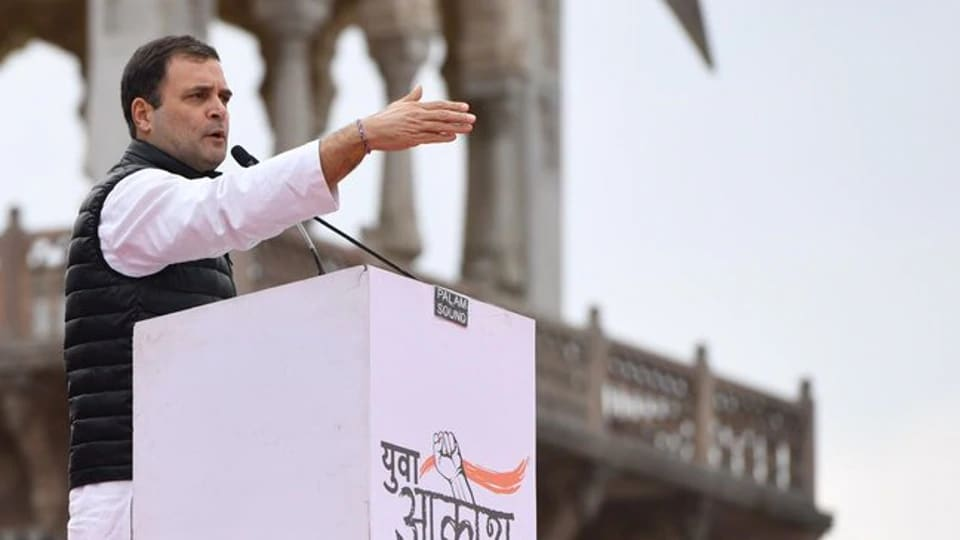 """Rahul Gandhi at the """"Yuva Aakrosh Rally (youth anger)"""" in Rajasthan's capital Jaipur on Jan 28, 2020."""