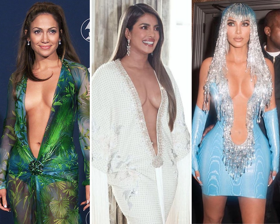 Priyanka Chopra Jonas tried to pull the iconic Jennifer Lopez Versace look at Grammy's 2020. Top plunging...