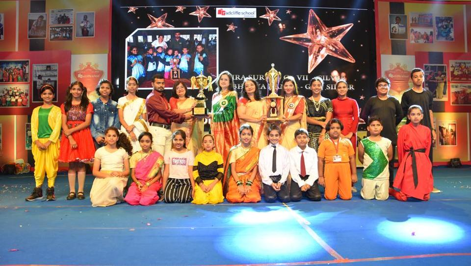Radcliffe School students who won the district, state and national-level championships in wrestling, Wushu, Thai boxing and other sports, were felicitated along with their coaches Asmita Gawas and Ashok Karad.