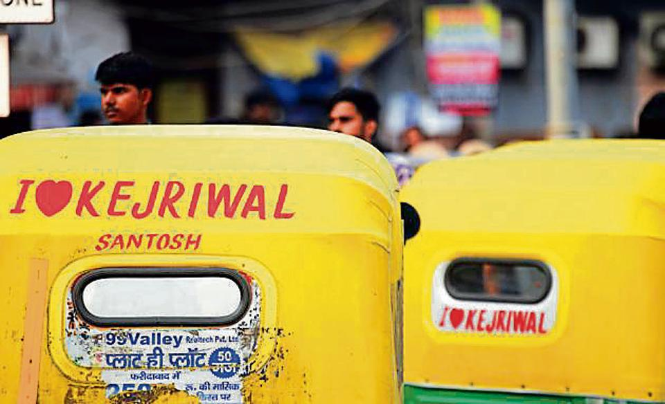 The hood of an auto-rickshaw reads 'I Love Kejriwal' – part of a campaign by the auto-rickshaw drivers in New Delhi.