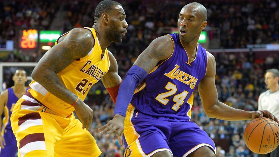 A file photo of Lebron James and Kobe Bryant.