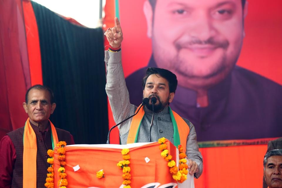 Union minister of state for finance and corporate affairs, Anurag Thakur, addresses a rally ahead of the forthcoming Delhi Assembly elections, Rithala, Delhi, January 27, 2020