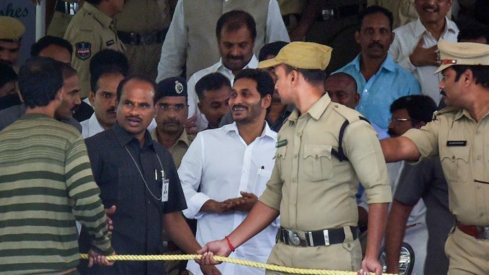 Andhra Pradesh Chief Minister Jagan Mohan Reddy arrives at CBI court in Hyderabad.