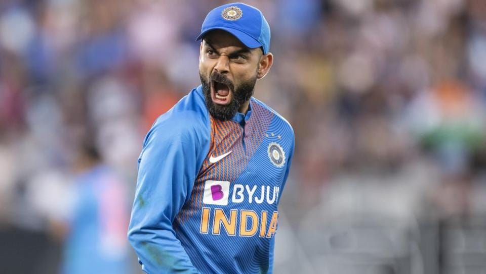 Virat Kohli in action during the third T20I encounter between India and New Zealand.