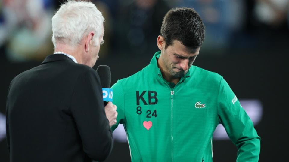 Serbia's Novak Djokovic breaks down while paying tribute to Kobe Bryant.