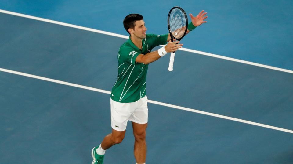 Serbia's Novak Djokovic celebrates after his match against Canada's Milos Raonic.