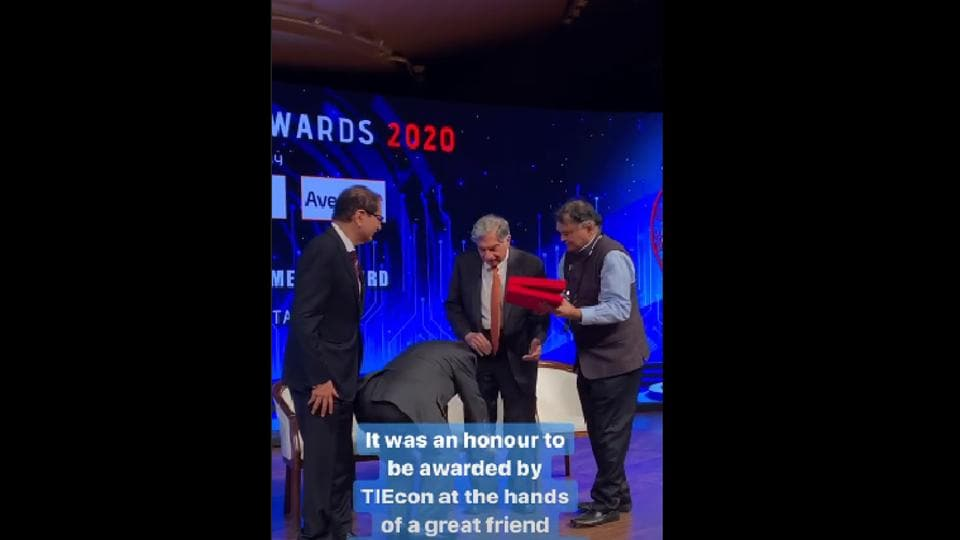 Narayana Murthy was on stage to honour Ratan Tata with the Lifetime Achievement Award.