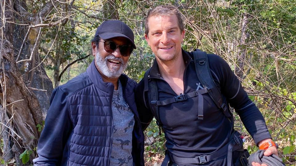 Rajinikanth and Bear Grylls pose together for camera.