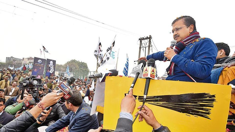 Delhi chief minister Arvind Kejriwal during a road show at Brij Puri, northeast  Delhi,  Tuesday, Jan 28, 2020.