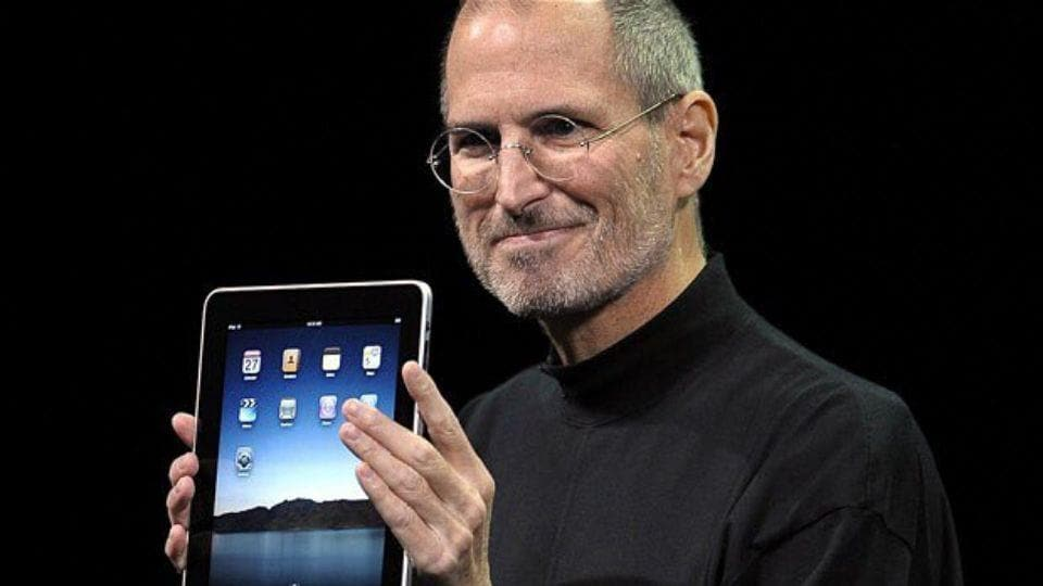 Steve Jobs unveiling the first Apple iPad.