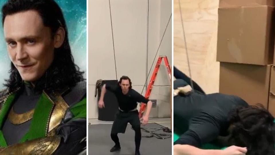 (Right) TomHiddleston as Loki inAvengers: Endgame (left) in a still from prep video.
