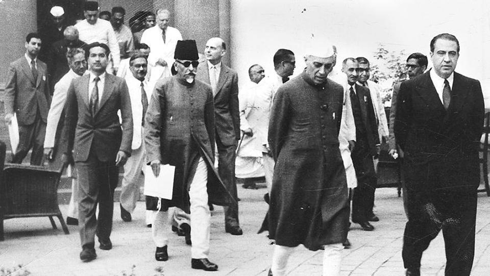 Dr Jaime Torres Bodet Director General of UNESCO Jawaharlal Nehru and Abul Kalam Azad arriving at Parliament House for the session of the Indian National Commission for Cooperation with UNESCO.