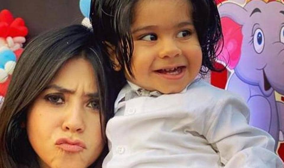 Ekta Kapoor poses with son Ravie for a new picture.