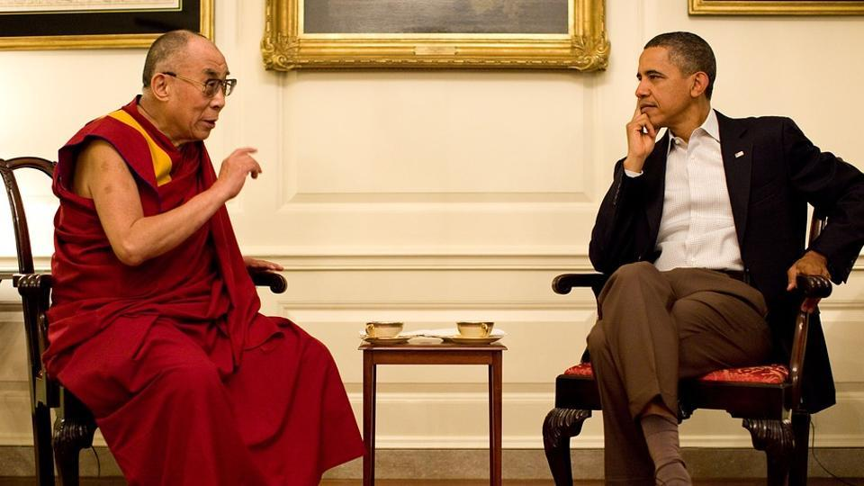 Dalai Lama in conversation with former President of the United States, Barack Obama.