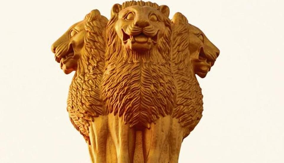 The emblem is the graphic representation of the Lion Capital that originally graced the top of the Ashok Stambh or Ashoka Pillar at Sarnath. It has the national motto, Satyamev Jayate (truth alone triumphs), written below it.