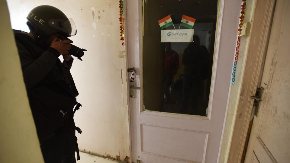 Sealed door of a fake call centre in Noida, Uttar Pradesh. Several such call centres have been raided  by police.