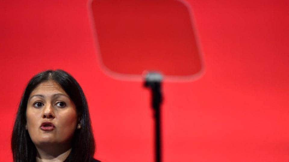 Lisa Nandy speaks during the opposition Labour Party's annual conference in Brighton, southern Britain.