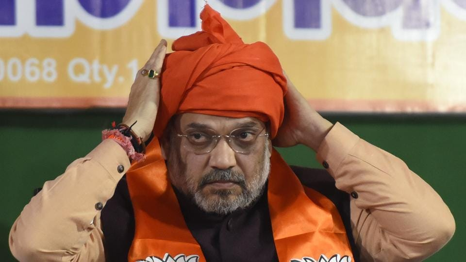 Home Minister Amit Shah seen during a rally ahead of the Delhi Vidhan Sabha elections, at Shiv Vihar, Mustafabad, in New Delhi.
