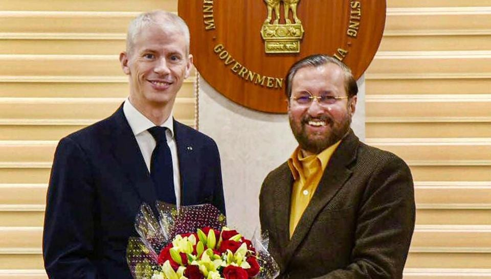 French Minister for Culture Franck Riester with Union Minister Prakash Javadekar in New Delhi on Tuesday.