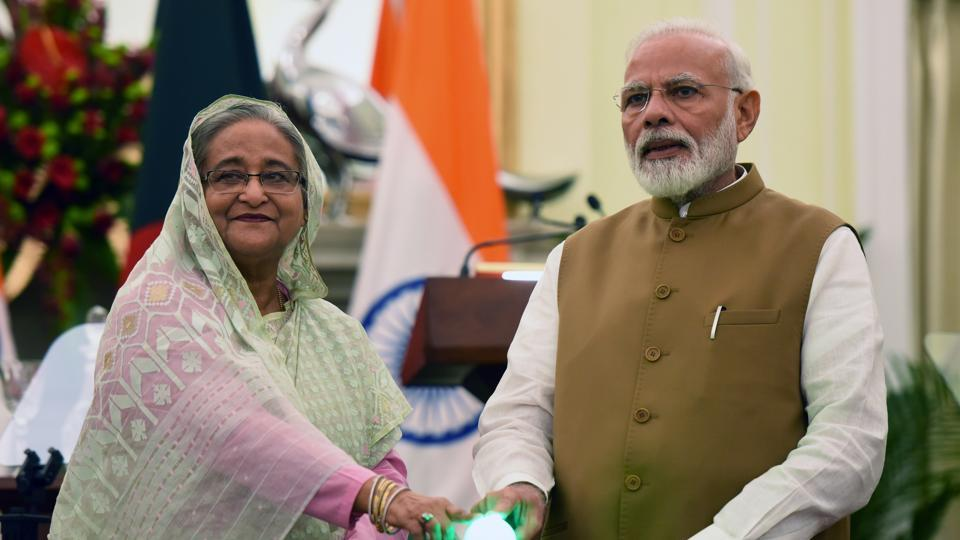 Prime Minister Narendra Modi and Bangladesh Prime Minister Sheikh Hasina jointly inaugurate three Bilateral Projects, at Hyderabad House, in New Delhi.